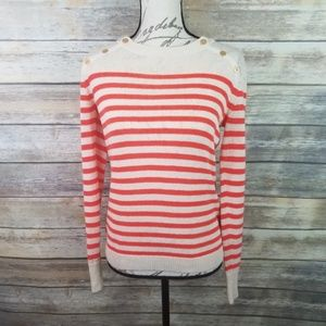 J. CREW Nautical Striped Pullover Linen Sweater